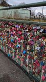 Love locks on a bridge in Hamburg, Germany. That are engraved with names royalty free stock photo