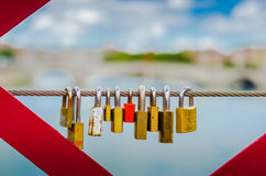 Love-locks on a bridge Royalty Free Stock Photography