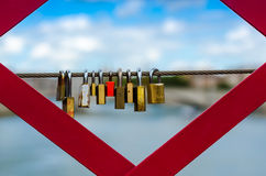 Love-locks on a bridge Stock Image