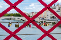 Love-locks on a bridge Royalty Free Stock Photo