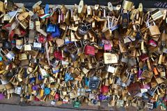Love locks on a bridge in Paris Royalty Free Stock Photo