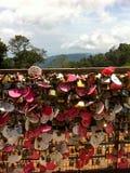 Love locks on a bridge royalty free stock photos