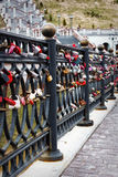 Love Locks. Locks on a bridge railing at early spring. Vitebsk at Belarus Royalty Free Stock Photos