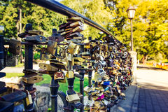 Love locks on  the bridge Stock Photos