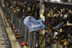 Love locks on the bridge. It's a local tradition to come to this place at a wedding day. Royalty Free Stock Photography