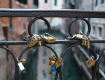 Love Locks on a Bridge in Venice royalty free stock photography