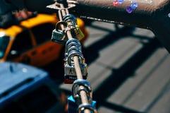 Love locks on the Brooklyn Bridge in Manhattan. royalty free stock images