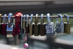 Love Locks at Brooklyn Bridge New York City stock photos