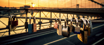 Love locks on the Brooklyn Bridge Stock Photography