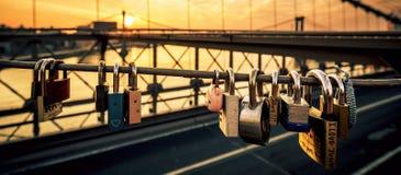 Love locks on the Brooklyn Bridge Stock Photography