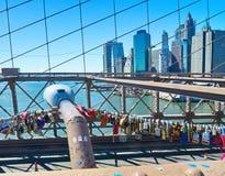 Love locks on the Brooklyn Bridge, New York Stock Photo