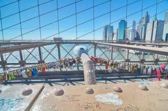 Love locks on the Brooklyn Bridge, New York Stock Photos