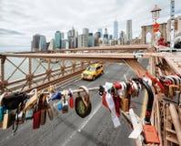 Love locks at the Brooklyn Bridge royalty free stock images