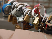 Love Locks on Brooklyn Bridge, New York, USA. Locks attached by lovers to the structure of Brooklyn Bridge, New York, USA stock images
