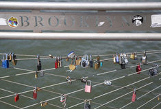 Love locks at the Brooklyn Bridge Park in New York Royalty Free Stock Photo