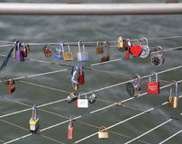 Love locks at the Brooklyn Bridge Park in New York Royalty Free Stock Image