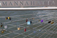 Love locks at the Brooklyn Bridge Park in New York Royalty Free Stock Images