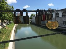 Love locks at the Butchers Bridge Royalty Free Stock Photos
