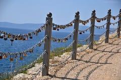 Love locks on a chain Stock Photography