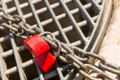 Love locks on the chain Royalty Free Stock Image