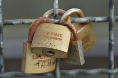 Love locks. Cologne, Germany - September 25, 2015 - Locks with messages of lovers on Hohenzollern bridge as a symbol of everlasting love Royalty Free Stock Photo