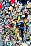 Love locks. Colourful love locks at fence in Hackney, London Stock Image