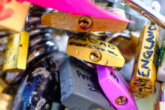 Love locks detail Stock Image