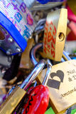 Love locks detail Royalty Free Stock Image