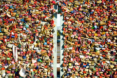Love locks, detail (2) - Cologne, Germany Stock Images