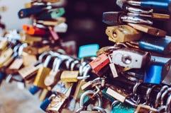 Love locks detail Royalty Free Stock Image
