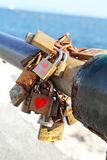 Love locks detail. Love locks with hearts detail royalty free stock photography