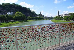 Love locks on the famous old  bridge with the Salzburg Royalty Free Stock Images