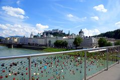 Love locks on the famous old  bridge with the Salzburg Royalty Free Stock Photo