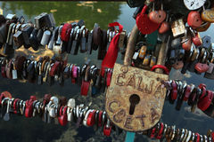 Love locks fixed in the Dmitrov Kremlin, Russia. Royalty Free Stock Photo