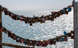 Love locks at the harbor entrance from Büsumer harbor stock image