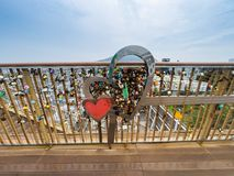 Love locks in the heart Royalty Free Stock Image