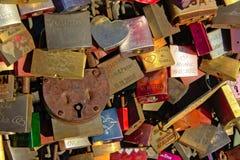 Love locks on Hohenzollern railway Bridge, Cologne, close-up Royalty Free Stock Photography