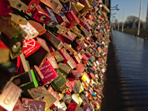 Love locks on Hohenzollern railway Bridge, Cologne, selective focus Royalty Free Stock Images