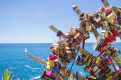 Love locks on the Ligurian Coast Stock Photos