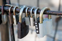 Love locks. At the city park Stock Photography