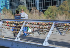 Love Locks couple Melbourne Royalty Free Stock Image