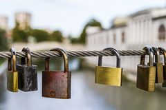 Love locks on metal wire Royalty Free Stock Images