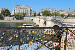 Love locks near the Pont Neuf in Paris, France Royalty Free Stock Photos