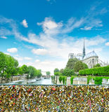 Love locks. Notre Dame de Paris. Retro style Stock Photos