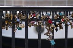 Love locks at nyhavn in Copenhagen, Denmark. stock images