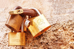 Love locks (padlocks) attached to the bridge in Paris. France. Royalty Free Stock Photos