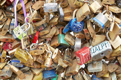 Love locks in Paris background Stock Photos