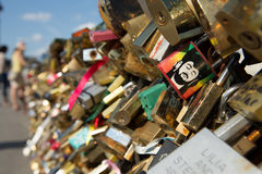 Love locks on Paris bridge Royalty Free Stock Photography
