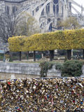 Love locks in Paris bridge symbol of friendship and romance Royalty Free Stock Photo