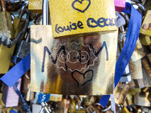 Love Locks in Paris. These are locks signifying love on Pont des Arts bridge in Paris, France Royalty Free Stock Image